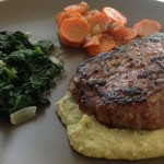 Sirloin Steaks with Garlic Sauteed Spinach & White Bean Puree