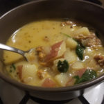 Spicy Sausage Potato and Spinach Soup